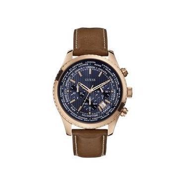 7252ad857e100 Relógio Feminino Guess Brown, Blue And Rose Tom Ouro Dourado Leading Sport  Watch