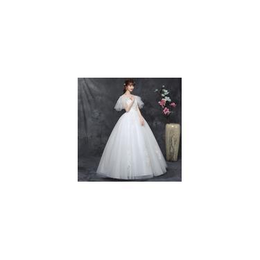 Imagem de Vestido longo branco de noiva com Decote em V respirável Padrão de bordado B06