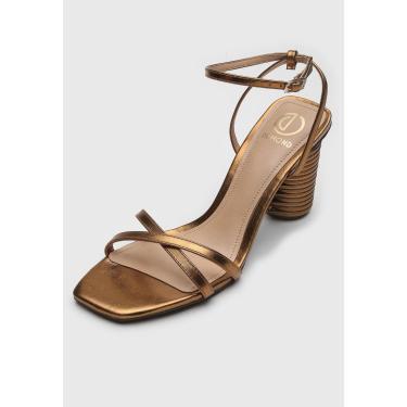 Sandália Dumond Metalizada Dourada Dumond 4116699 feminino