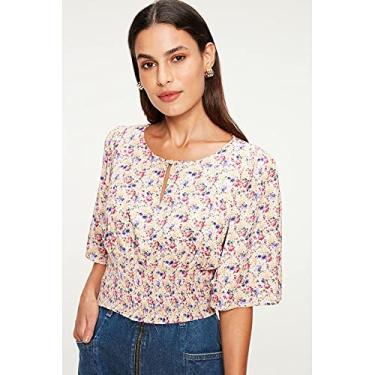 Imagem de Blusa com Lastex e Estampa Floral Mini Tam: P/Cor: BEGE/ROSA