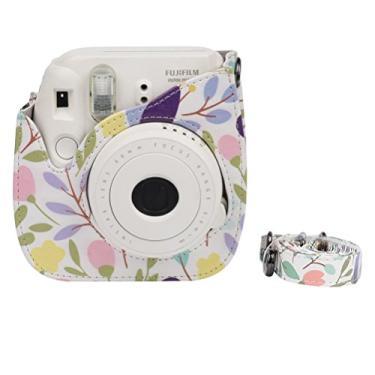 Imagem de OSALADI Bolsa de ombro para câmera Bolsa protetora com padrões coloridos Bolsa de couro para câmera para Fujifilm Instax Polaroid Mini 8/8+ / 9
