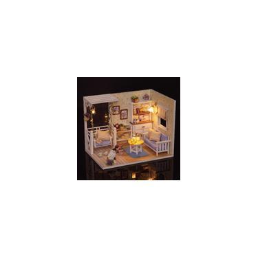 Diy Casa De Bonecas Em Miniatura Kit Realista Mini 3D Casa De Madeira Sala de Brinquedo Artesanal com Mobiliário Luzes LED Presente de Casamento de Aniversário de Natal