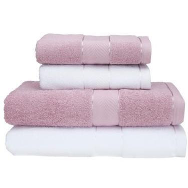 Imagem de Jogo De Toalhas De Banho Teka 100% Algodão - Duomo Branco E Rosa 4 Peç