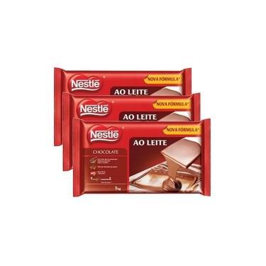 3 Barra De Chocolate Ao Leite 1kg Nestle