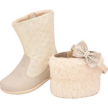 Bota Versátil Matelassê Plis Calçados Marfim  menina