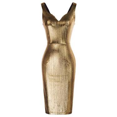 Grace Karin vestido lápis feminino sem mangas com decote em V casual, Dourado, Large