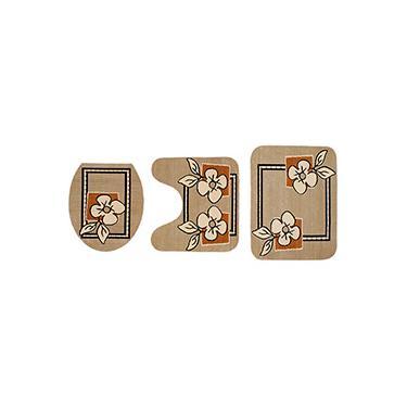 Imagem de Kit Tapetes para Banheiro Royal Luxury Bege Veludo 3 Peças - Rayza