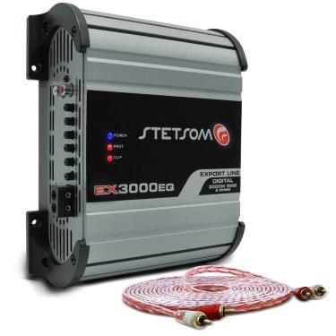 Módulo Amplificador Stetsom Export Line EX 3000 EQ 3000W RMS 1 Canal 2 Ohms + Cabo Stetsom 5M 2mm²
