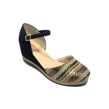 Sandália flat bárbara krás anabela bordada - preta