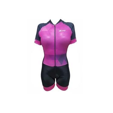 Macaquinho de ciclismo feminino Be Fast Geometric forro em gel