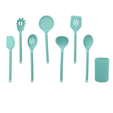 Hemoton Conjunto de utensílios de cozinha de silicone, espátula, colher de sopa, suporte de utensílios, utensílios de cozinha resistentes ao calor, panelas antiaderentes para raspagem, cozimento verde, 8 peças