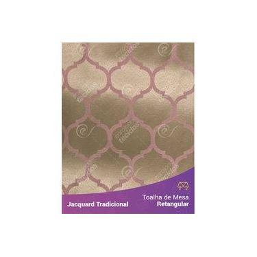 Imagem de Toalha De Mesa Retangular Em Tecido Jacquard Rosa Envelhecido E Dourado Geométrico Tradicional