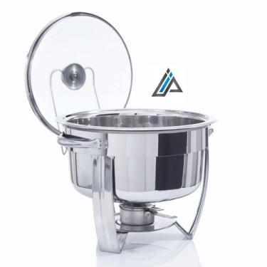 Imagem de Rechaud Redondo De Aço Inox 6 Litros Banho-Maria com Queimador em Álco