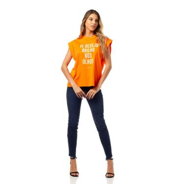 Camiseta Estampada, Colcci, Feminino, Laranja Calazan, P