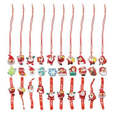TOYANDONA 30 peças de anel de luz de Natal com luzes de LED de Natal colar pulseira piscando, lembrancinhas de festa de Natal para crianças, festa de Natal