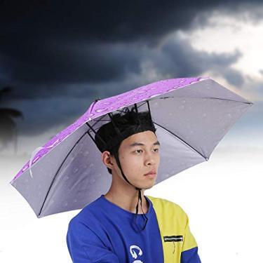 Chapéu de guarda-chuva dobrável, chapéu de guarda-chuva, chapéu de pesca, protetor solar para adolescentes ao ar livre, pátio adulto (roxo)