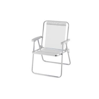 Cadeira De Praia Alta Alumínio Beach Premium Branco