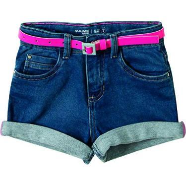 Bermuda comfort moletom jeans, Malwee Kids, Meninas, Azul Escuro, 3