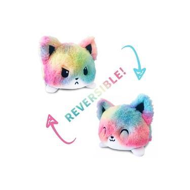 Imagem de Gatinho de Pelúcia Reversível Gato Colorido Feliz e Bravo