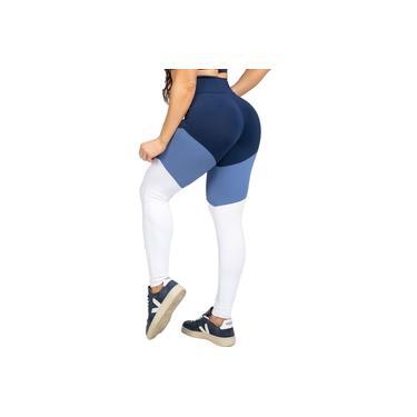 Legging Poliamida UV50+ Marinho com Recortes Azul e Branco