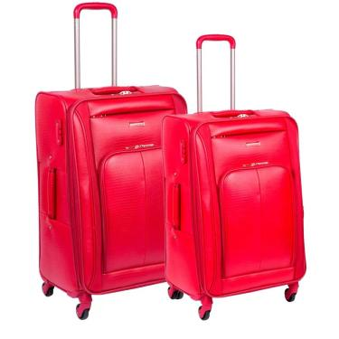 91c574622b Kit 2 Malas P   M 360° Expansível Croco 2T Plus Vermelho Cadeado TSA -