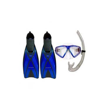 277da9c4bc9 Kit de Mergulho Cetus Triplo Ray com Máscara + Snorkel + Nadadeira - AZUL  Cetus