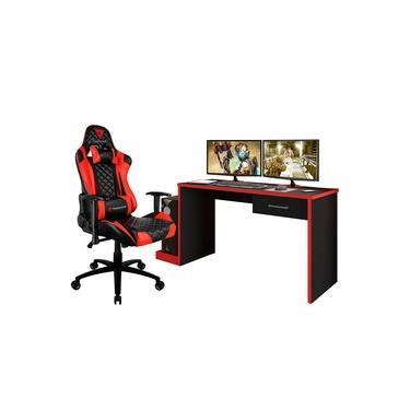 Kit Mesa Para PC Gamer Horizon com Cadeira Gamer TGC12 ThunderX3 Preto/Vermelho - Lyam Decor