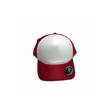 Boné Trucker Vermelho Frente Branco