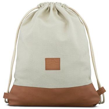 Bolsa de Algodão com Cordão – Bolsa de Gymsack Masculina e Feminina JOHNNY URBAN Canvas, Sand / Brown, One Size