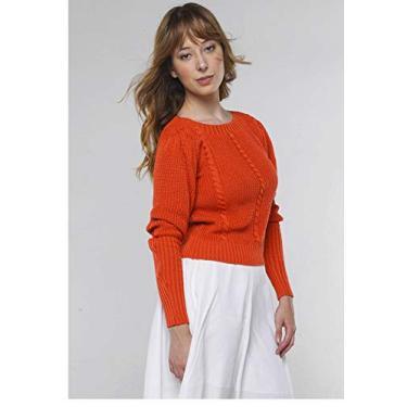 Suéter de Tricot Mangas Bufantes Gola Canoa Sob Laranja Terra (M)