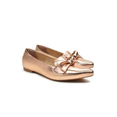 Sapatilha Feminina Metalizada Laço Bico Fino Casual Conforto Bronze