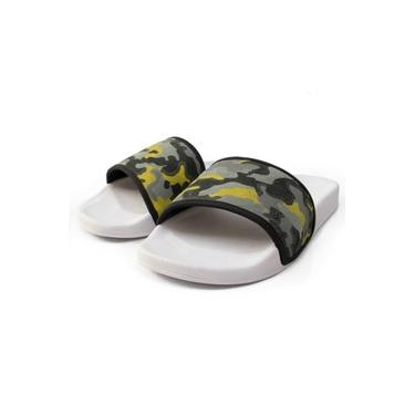 Chinelo Sandália Masculino Slide Confort Branco e Amarelo