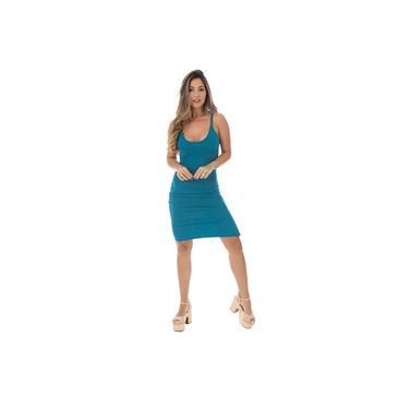 Vestido Canelado Fristyle Com Alças Finas Azul Turquesa