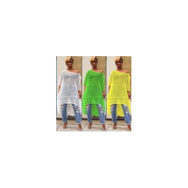 Verão Oco Out Lace Ver Através de Vestidos Casuais Curto Frente Longo Voltar Um Ombro Mangas Compridas Solto Vestido de Praia Vestido de Festa 2019 Novo