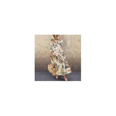 Zanzea feminino de algodão casual manga 3/4 estampado floral vestido boêmio de férias vestido largo de maxi kaftan Amarelo 5XL