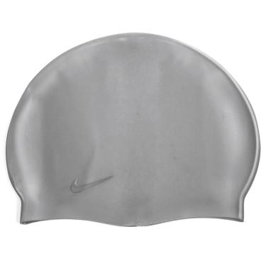 Touca de Natação Nike Solid Silicone Cap Metalica Logo Prata 772cc5d46f9