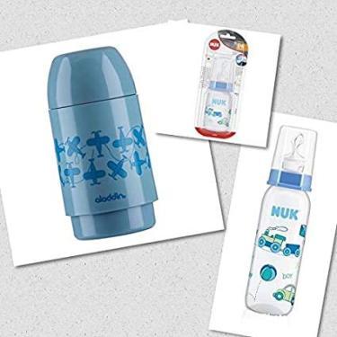 Imagem de KIT Bebê Azul = 01 GARRAFA Térmica Alladin Decorada + 02 Mamadeiras NUK Classic Decorada