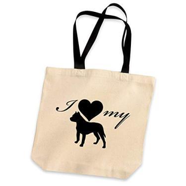 Bolsa de ombro I Love My Pitbull com silhueta de cachorro bolsa de mão bolsa de coração