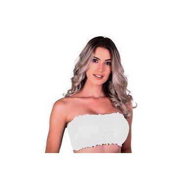 Imagem de SUTIÃ TOP RENDA COM BOJO CORES LISAS-BRANCO