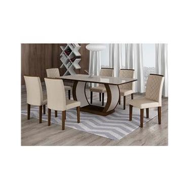 Conjunto de Mesa de Jantar com 6 Cadeiras Maia III Veludo Castor