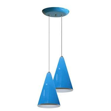 Luminaria Pendente Colorido Duplo Para Sala Quarto Cozinha - Azul