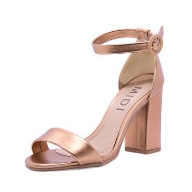 Sandália MIDI Calçados Salto Grosso Bronze  feminino
