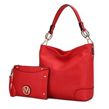 Conjunto MKF, bolsa Hobo para mulheres e porta-cartões – bolsa de ombro de designer de couro PU – Bolso com alça superior, Coral Red, Large