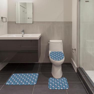 Imagem de Jogo de Banheiro Natal Flamingo Azul Único
