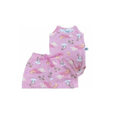 Conjunto Infantil Menina Feminino Body Alcinha Short Rosa Nuvem