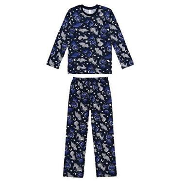 Pijama Manga Longa Juvenil Menino Malwee Liberta Dino Ref. 077440 Cor:Azul Marinho;Tamanho:12