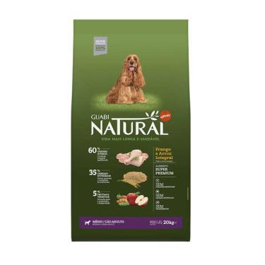Ração Affinity Guabi Natural Frango e Arroz Integral para Cães Adultos Raças Média - 20 Kg