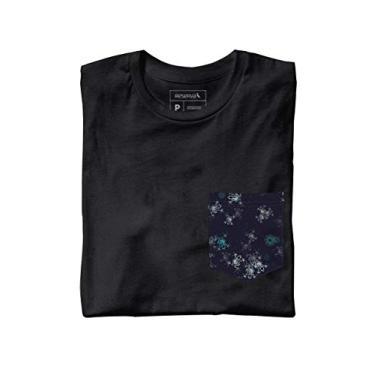 Camiseta Malha Preta Bolso Azul Petróleo c6984e96d4d4a