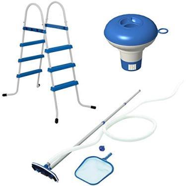 Kit Para Piscina Escada Alumínio flutuador Químico Aspirador Peneira Limpeza Manutenção - Mor