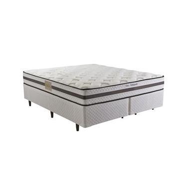 Cama Box Queen Size Herval + Colchão Queen Size Herval Class Orthopedic com Pillow Top One Side e Molas Bonnel 63x158x198 cm - Branco/Cinza